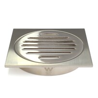 Floor Grate | 100mm Square | Brass | Brushed Nickel | Code: FGS100BN