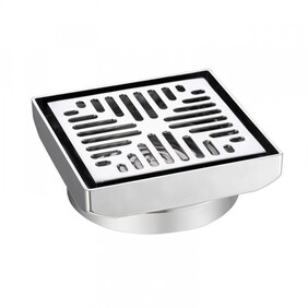 Floor Grate | 100mm | Square | Chrome Plated | Brass Body | Code: 2221