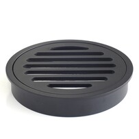 Floor Grate | 100mm Round | Brass | Matte Black | Code: FGR100MB