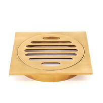Floor Grate | 100mm SQUARE | Brushed Gold Finish | Code: FGS100BG